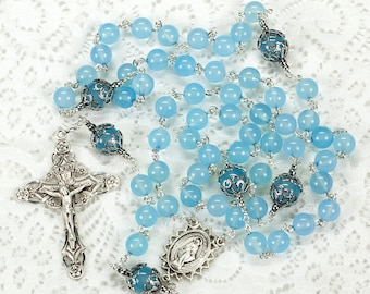 Sea Blue Chalcedony Rosary - Handmade Gift for Catholic Women - Miraculous Medal, Ornate Crucifix, Sterling Silver, Heirloom Womans Rosaries