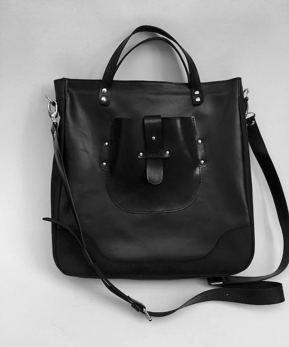 Vogue Large Bag, Pure Black Full Grain  Leather Bag,  Genuine Leather Handmade Bag, Laptop bag, Leather Laptop Bag, Custom Bag