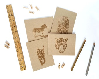 Set of 6 Wild Cats & Zebra Embossed Blank Greeting Cards Variety Pack