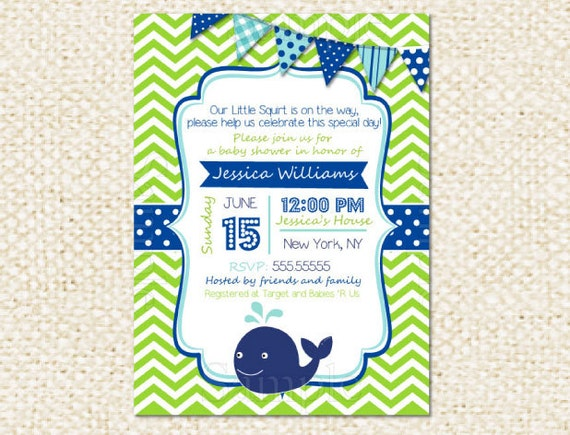 Whale Baby Shower Invitations DIY printable baby boy baby