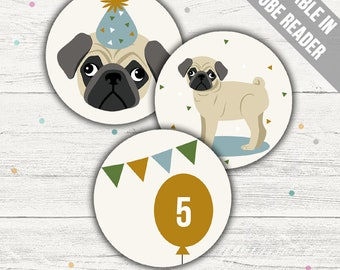 Pug Cupcake Toppers (Pug Party Printables). Blue. Editable PDF. Instant Download.