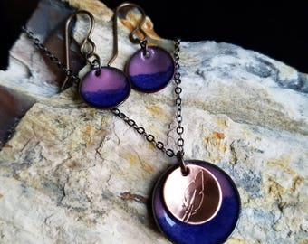 Prussian Blue and Light Purple, Feather, Torch Fired Enamel, Hand Crafted, Unique