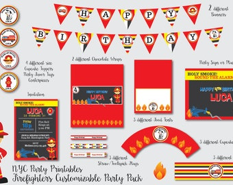 Firefighter Birthday party, Fire truck birthday, fire fighter, firefighter invitation, fire truck birthday decorations