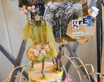 """Beautiful, unique fairy furniture, made from natural & found materials, """"Green Transforms"""", 10"""" tall, nature art with photo, mounted on box"""