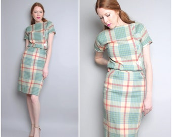 1950's Wool Wiggle Dress / 2 Piece Set / Pencil Skirt / Fitted Dress / XS