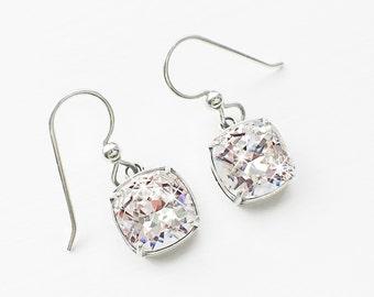 Crystal Clear Swarovski Crystal Dangle Earrings, April Birthstone, White Crystal Clear Swarovski Crystal Cushion Cut Bridal Earrings