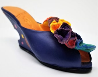 Miniature Wedge style Shoe with Colorful Ruffle Shoe Collector dream