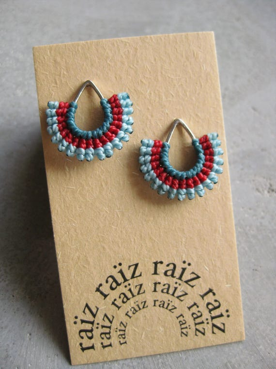 I b e y i . Textile Silver Teardrop Stud Earrings . © Design by .. raïz ..