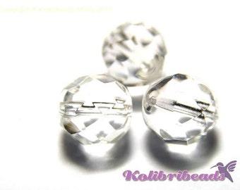 Fire polished Czech Glass Beads 8 mm - Crystal