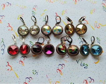 Tiny Dancer Colorful Swarovski Crystal Rivoli Earrings Bohemian Gypsy Pirate Princess