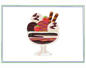 Ice Cream Small Money Purse 05 - In The Hoop Machine Embroidery Design