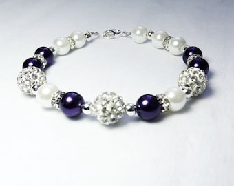 Deep Purple Pearls and Crystal Accent Bridesmaid Bracelet , Wedding Bridesmaid Jewelry, Bridal Party Gift