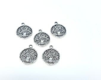 5 Tree Charms, Tree of Life Charms, Antique Silver Charms, Metal Charms (CH122)