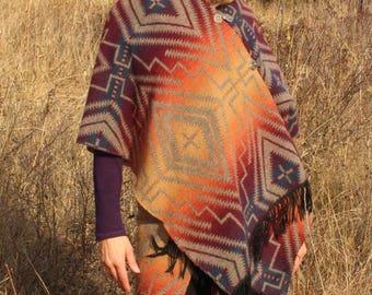 Mystic woman hooded wool shawl/ sewn in genuine pendleton wool/ re birthed pendleton wool throw/new wool/southwestern pattern/ free size