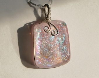 Pale Pink Dichroic Glass Pendant with Sterling Silver Wire Wrap - Cyberlily