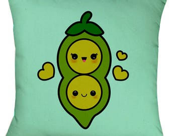 Two Peas in a Pod Kawaii Cushion  face Cushion Gift Christmas Birthday, Valentine, Love - Can Personalise / Add text
