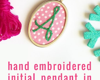 Colorful Embroidered Initial Jewelry. Monogrammed Gifts. Hand Embroidery. Personalized Jewelry. Modern Initial necklace. Monogram Pendant...