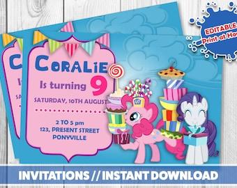 Editable MY LITTLE PONY Invitation / / Printable invitations //My little pony instant download / / Pony birthday party