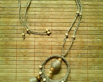 NATURE wood and hemp necklace