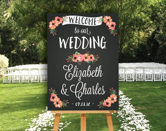 Chalkboard Welcome Sign - Wedding Welcome Sign - Bridal Shower Welcome Sign - Baby Shower - Floral Chalkboard Welcome Sign - DIGITAL FILE