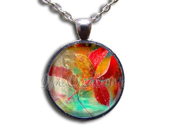 Autumn Leaves Colorful Glass Dome Pendant or with Chain Link Necklace NT116