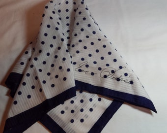 """Designer scarf Eve Dedree, white and navy blue, polka dots, 22"""" square"""