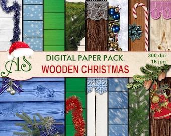 Digital Wooden Christmas Paper Pack, 16 printable Digital Scrapbooking papers, Digital Collage, new year clip art, Instant Download, set 233