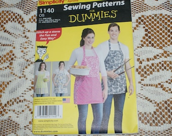 New Simplicity Sewing Pattern for Dummies  Apron Pattern 1140 Size A