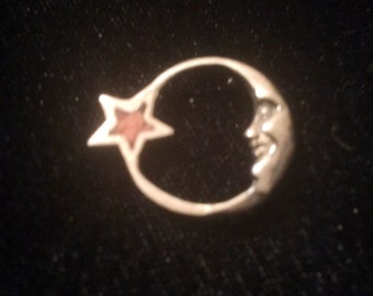 Small Vintage mystical boho half moon star pendant