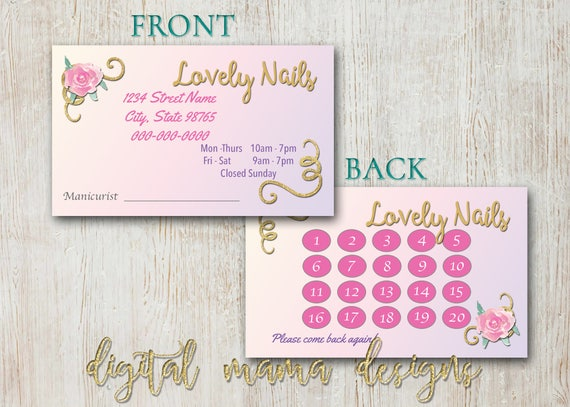 Nail salon loyalty punch card nail salon business card like this item reheart Image collections