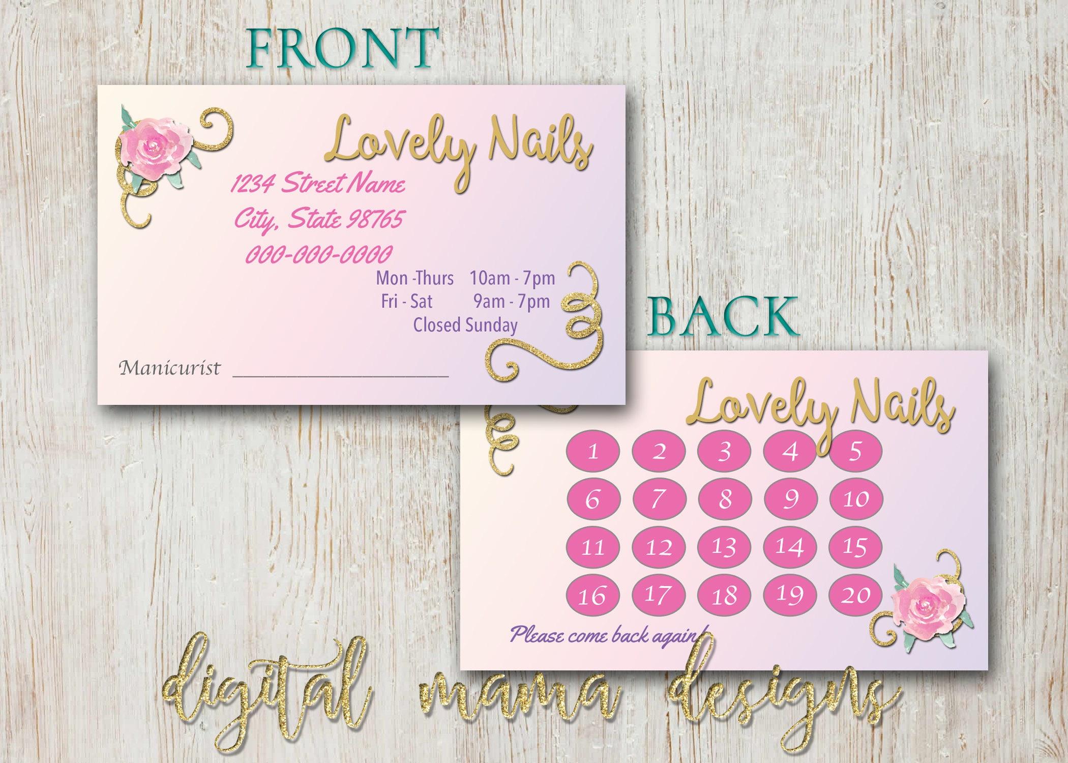 Nail Salon Loyalty Punch Card Nail Salon Business Card