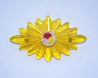 Yellow Brooch With Tiny Roses