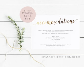 Accommodation card | Etsy