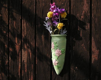 Wall Pocket Vase - for dried or silk flowers only