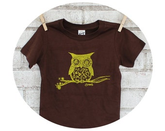 Owl T Shirt, Youth Cotton Creweneck Graphic Tee, Brown Tshirt, Children, Kids, Toddlers, Toddler, Hand Printed Youth Clothing, Screenprinted
