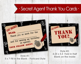Secret Agent Thank You Cards - Instant Download