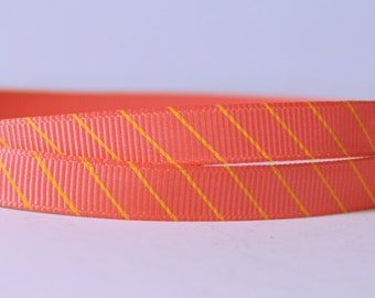 """20 YD Orange-Pink with Yellow Angular Lines Printed Grosgrain Ribbon 3/8"""" Scrapbooking HairBows Parties DIY Projects az303"""