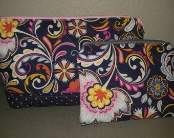 Navy blue with flowers cosmetic bag and coin purse