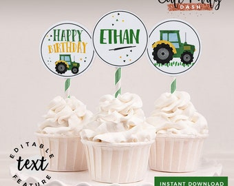 INSTANT DOWNLOAD - EDITABLE Tractor Birthday cupcake toppers Farmer Birthday Party printable thank you tag birthday Farmers party favor