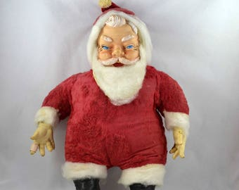 Vintage Santa Doll, Large Mid Century Rubber Face Stuffed Santa Doll