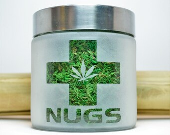 Nugs Stash Jars & Cannabis Edibles Canister with Pot Leaf - Weed Accessories and Stoner Gifts - Cannabis Edibles Weed Jars