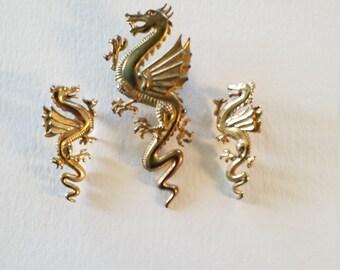 Vintage 1986 signed JJ Flying Dragon Mini Parure'