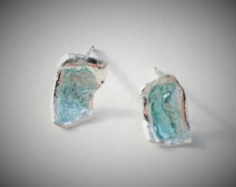 Silver enamel post earrings in opalescent blue green, blue enamel earrings, green enamel earrings, silver enamel earrings