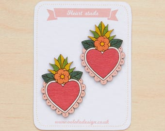 Floral heart studs, Heart earrings, Mexican jewellery, Colourful studs, Cute heart earrings, Heart jewelry, Floral studs, Mexican tin heart