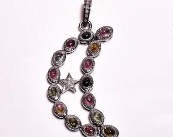 Pave Pendant, Diamond Moon Star Pendant 925 Sterling Silver Tourmaline Moon With Star Diamond Pendant