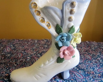 Vintage Vase, Porcelain Victorian Boot Vase, Planter, Home Decor,