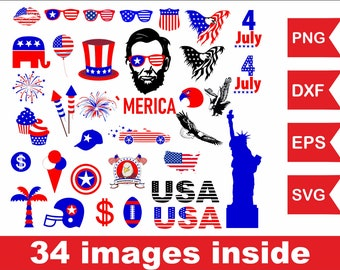 Fourth of July svg file, Eagle flag svg file, American flag svg file President svg file Independence Day svg file Statue of liberty svg file