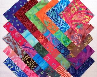 BATIK 100% cotton Prewashed Multi-Color 5 inch Quilt Block Fabric Squares (#80A)