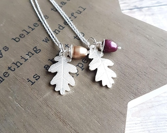 Sterling Silver Oak Leaf Necklace & Swarovski Pearl Acorn