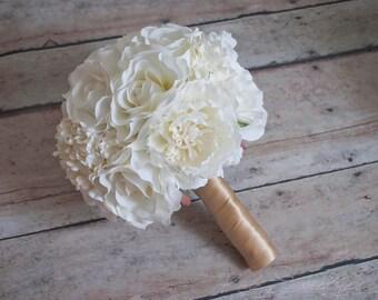 Wedding Bouquet Ivory Peony Rose Hydrangea Silk Wedding Bouquet